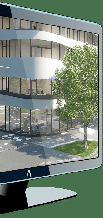 Monitor con immagine progetto Allplan Architecture